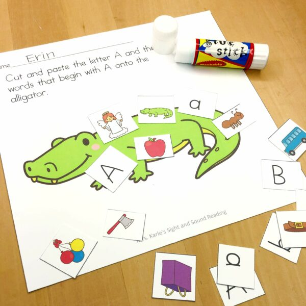Letter A Lesson Plan for Kindregarten - cut and paste activity.