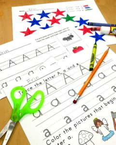 Letter A Lesson Plan for Kindregarten - handwriting practice