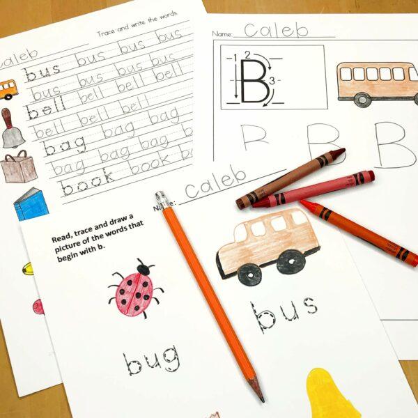 Letter B literacy center activities